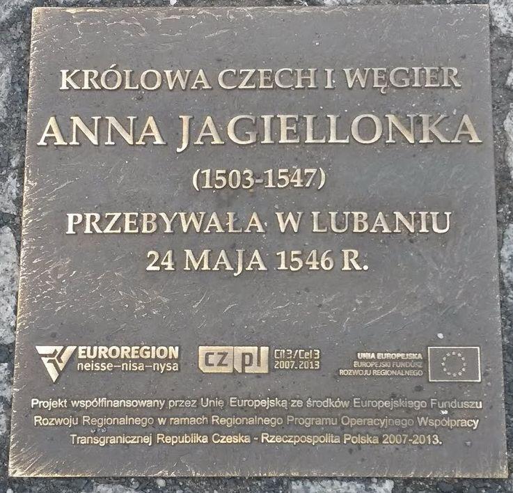 Tablica pamiątkowa - Anna Jagiellonka