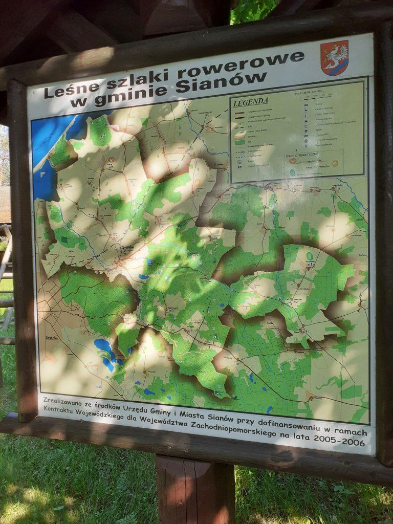 Mapa leśny szlaków rowerowych gminy Sianów