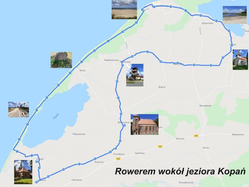 Rowerem wokół jeziora Kopań