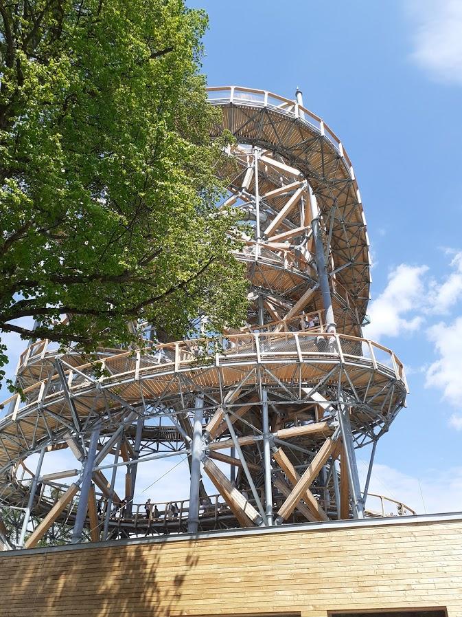 Widok na wieżę spod pawilonu wejściowego
